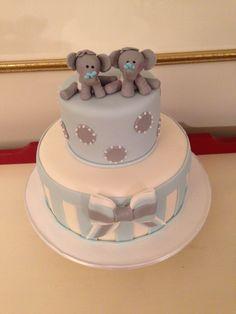 Elephant Baby Shower Cake, Twin Boys, by Amy Hart