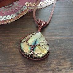 873f1f8de6 Albero della Vita con Labradorite e Pietra di Luna Arcobaleno - Wire Copper  Collana Lavatrice,