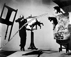 "One of the 28 attempts for the ""Atomicus"" photograph of Salvador Dali by Philippe Halsman."