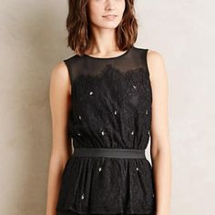 ✳️sale! {Anthropologie} Stargazer top Anthropologie stargazer peplum top. Nylon, rayon, cotton; rayon-spandex jersey lining. Meadow Rue. New!  Sheer yoke Bead and sequin detail Elasticized waist Keyhole nape Machine wash Anthropologie Tops