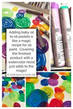 If you've got a list of supplies to keep available for your kids oil pastels should make the cut. Oil pastels are vibrant, inexpensive, and have so many applications! I've used oil pastels for many things but this is new! Check out the single ingredient to turn oil pastels from crayons into paint!