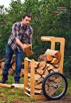 #3199 Firewood Cart Plans - Outdoor Plans Woodworking Plans #WoodworkingPlans #WoodworkingIdeas