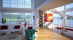 Interior Design & Rendering: living room with a wide view on the lake. Graphic software: 3DS Max