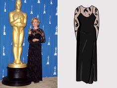 1995 Actriz: Jessica Lange  Ganó por: Blue Sky (1994)  Vestido diseñado por: Calvin Klein