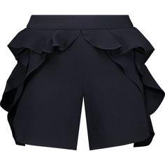 Goen J - Ruffled Cady Shorts (12.285 RUB) ❤ liked on Polyvore featuring shorts, navy, navy blue shorts, flounce shorts, ruffle shorts, navy shorts and frilly shorts