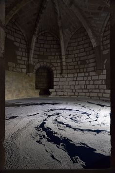 Japanese Artist Motoi Yamamoto's incredible, labyrinthine installations are the result of 45 hours of meticulously piled grains of salt, strewn inside a medieval castle in the South of France. I've posted about his work several times (here, here, here) but … Continue reading →