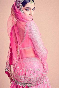 Sonam Kapoor looks stunning bride in Abhinav Mishra - With Love BITSY Bollywood Dress, Bollywood Fashion, Bollywood Style, Bride Reception Dresses, Wedding Dress, Bridal Lehenga Choli, Pink Lehenga, Pakistani Fashion Casual, Indian Designer Outfits