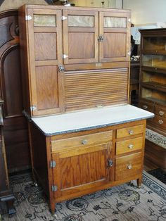 Sellers Kitchen Cabinets Vintage 1920's rare antique oak hoosier kitchen cabinet / cupboard w