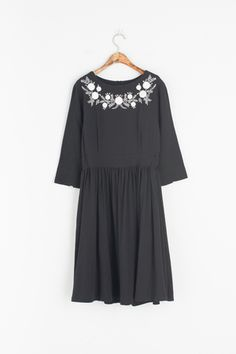 Flower Embroidery Baby Doll Dress, Black