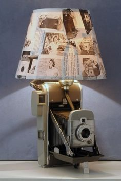 Vintage camera lamp, with photograph lampshade; recycle, upcycle, repurpose, salvage, diy!  For ideas and goods shop at Estate ReSale & ReDesign, Bonita Springs, FL
