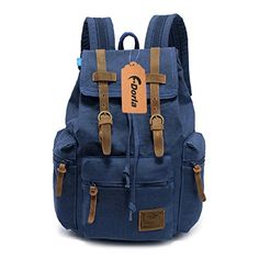 FDorla Vintage Casual Canvas Leather Backpack Rucksack Bookbag Satchel Hiking Outdoor Bag Blue * Read more reviews of the product by visiting the link on the image.Note:It is affiliate link to Amazon.