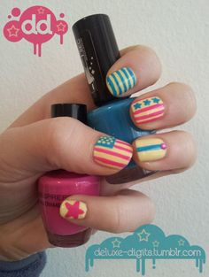 Tweaked out (early) 4th of July nails - Pink, yellow and teal baby!!