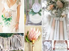 protea-wedding-flowers Proteas are native to South Africa and have been growing in popularity (some say that proteas are the new succulent) Protea Wedding, Floral Wedding, Wedding Colors, Wedding Bouquets, Wedding Flowers, Boho Backdrop, Wedding Flower Arrangements, Bridesmaid Flowers, Wedding Inspiration