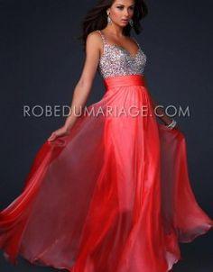 Empire robe de soirée mariage bretelle fine applique chiffon robe sur mesure