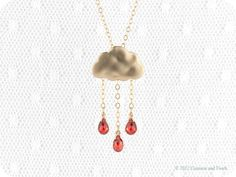 Gold Red Rain Cloud Necklace Drops of Joy 14kt by crimsonandfinch, €28.50