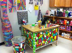 Colorful classroom!!! Love electrical tape wild thing!!!