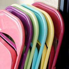 spray painted folding chairs. church, color, fold chair, spray paint, diy home, folding chairs, cards, paint fold, parti