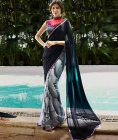 Buy Black Georgette Printed Saree With Blouse 76814 with blouse online at lowest price from vast collection of sarees at Indianclothstore.com.