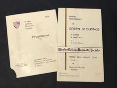 Vintage WESLEY COLLEGE DRAMATIC SOCIETY Programme GREEN STOCKINGS 1936 x 2