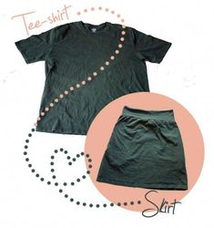 """Pattern Tutorial- """"Recycled T-Skirt"""" Lovely, Simple Up-Cycled T-Shirt into one a them supa cozy, lazy days jersey knit skirt! This is one of the simpler Tee Refashion Patterns out there. Diy Clothing, Sewing Clothes, Clothes Refashion, Diy Jupe, T-shirt Rock, Jersey Knit Skirt, Diy Fashion Projects, Fashion Ideas, Cycling T Shirts"""