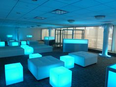 Glow-Cubes, LED colorful light-up glowing cubes and Glo-Bar with bench and square white leather ottomans for corporate party in Boston, MA  ...