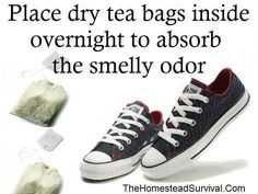 The easiest way to get rid of smelly shoes: place dry tea bags inside them overnight to absorb the odor. The Homestead Survival where has this been all my life no more husband stinky gym shoes Tea Bags In Shoes, Smelly Shoes, Making Life Easier, Clean Shoes, Natural Cleaning Products, Natural Products, Cleaning Hacks, Cleaning Solutions, Just In Case