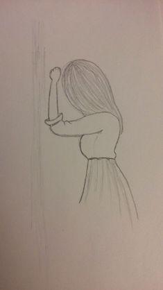 Drawing Girl Sad Easy Ideas # very easy drawings Easy Pencil Drawings, Sad Drawings, Girl Drawing Sketches, Art Drawings Sketches Simple, Beautiful Drawings, Drawing Ideas, Easy Drawings Of Girls, Girl Drawing Easy, Easy Person Drawing