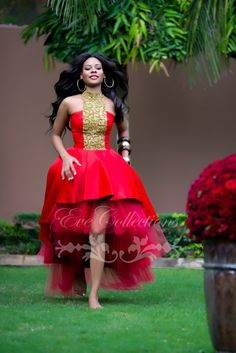 dress cocktail dress on sale at reasonable prices, buy Tanzanian Designer Red Hi-Lo Prom Dresses 2017 Gold Beaded High Neck Plus Size Ankara Ghana Women Dress Party Evening Gowns from mobile site on Aliexpress Now! African Dresses For Women, African Print Dresses, African Attire, African Wear, African Women, African Prints, African Style, African Outfits, African Lace