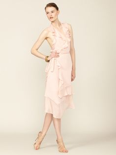 Victoria Silk Ruffle Wrap Dress by Imitation on Gilt