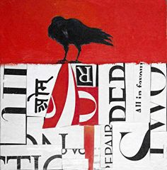 "Raven painting- ""BEAK GRAFFITI XVIII""- Mixed Media & Collage"" by Cristina Del Sol"