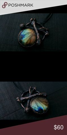 Copper electroformed bone labradorite necklace Ethically gathered bones electrofomed in copper with a beautiful rainbow labradorite Jewelry Necklaces