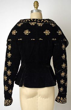Evening jacket, Erté / Romain de Tirtoff, metallic thread embroidery on black silk velvet, 1930s