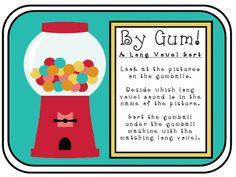 Free Downloads from 1st grade teacher like this gum ball vowel sort