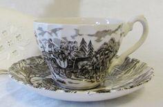 MYOTT Brown Transferware Teacups & Saucers by dajaxsUrbanAttic
