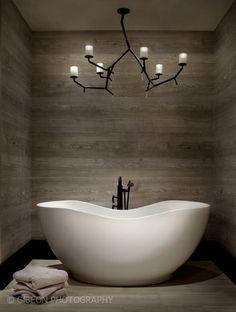 Modern bathroom - modern rustic tree branch chandelier