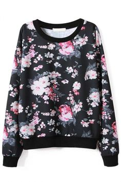 Classic Floral #Black #Sweatshirt - OASAP.com ★ 30 % OFF All New Arrivals for Thanksgiving