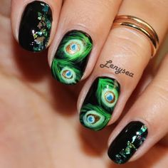 EASY AND ELEGANT PEACOCK NAILS By Elena Alex S