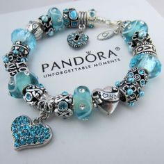Authentic Pandora Silver Charm Bracelet w/ Blue Crystal Heart Love Heart Beads