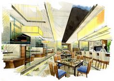 sketch interior all day into a watercolor on paper. - Buy this stock illustration and explore similar illustrations at Adobe Stock Interior Design Renderings, Interior Design Software, Boutique Interior Design, Interior Rendering, Interior Sketch, Interior Architecture, Interior Ideas, Restaurant Floor Plan, Hotel Floor Plan