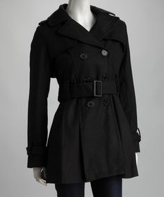 Look what I found on #zulily! Black Pleated Trench Coat - Plus by Yoki #zulilyfinds