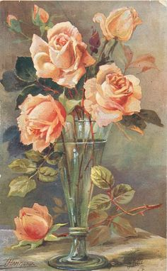 clear vase with water and four fully opened peach coloured roses, buds, another … - Blumen Peach Colored Roses, Peach Colors, Art Floral, Flower Prints, Flower Art, Photo D Art, Clear Vases, Rose Art, China Painting