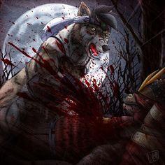 Wolf vs Werewolf by SheltieWolf.deviantart.com on @DeviantArt