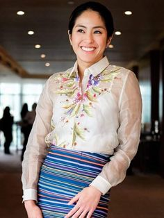 Hand painted barong and ethnic weave skirt from Kultura Philippines Outfit, Philippines Culture, Barong Tagalog For Women, Modern Filipiniana Gown, Filipino Fashion, Fiesta Outfit, Fashion Vocabulary, Gala Dresses, Gowns Of Elegance