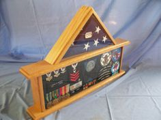 Oak Military Flag And Medals Display Case, Flag Box, Display Case, Military…