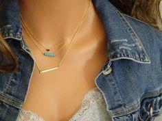 Layered Necklace Set Skinny Bar Necklace by StunningGemsJewelry