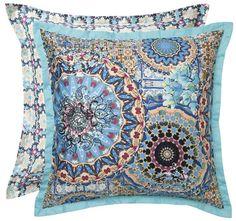 cottonSateenPrintedAttached flange in aqua Decor, Pillows, Home Decor, Settings, Throw Pillows, Vintage