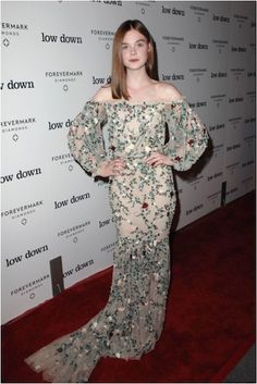 Elle Fanning Channels Bohemian Chic At 'Low Down' Premiere In Los Angeles / Marchesa gown