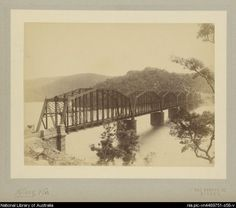 The original Hawkesbury railway Bridge, NSW, ca. 1895. When it was built, one of the piers had to be drilled deep into the bedrock below the river, and at the time that pier was the DEEPEST structure in the world.