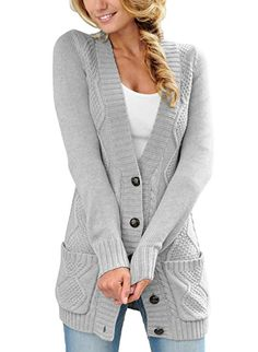 New LOSRLY Women Open Front Cabel Knit Cardigan Button Down Long Sleeve  Sweater Coat Outwear with Pockets online.  d560c696d