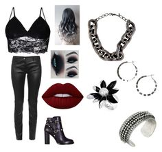 """""""Black Outfit-Maddie"""" by thatrandomnerdygirl on Polyvore featuring Balenciaga, Valentino, Lime Crime, Kenneth Jay Lane, Wet Seal, Bling Jewelry and Lucky Brand"""